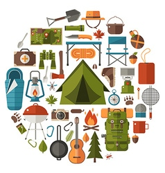 Camping and Hiking Icons vector image vector image
