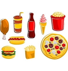 Cartoon fast food drinks and snacks vector