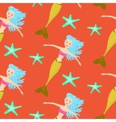 Cartoon mermaid princess coral red seamless vector