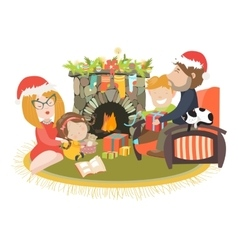 Family celebrating christmas at fireplace vector