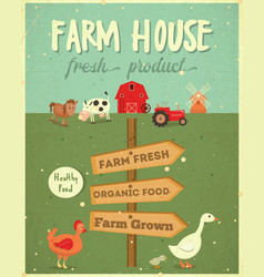 Farm house poster vector