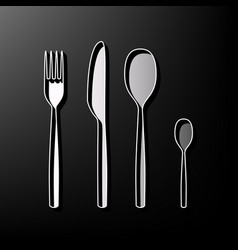 Fork spoon and knife sign gray 3d printed vector