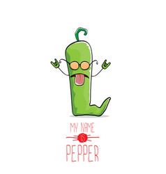 funny cartoon green pepper character vector image