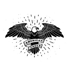 Hand Drawn Eagle with ribbon for text vector image