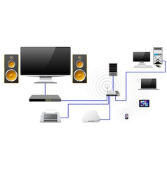 Home network with the server data store vector image