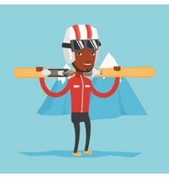 Man holding skis vector