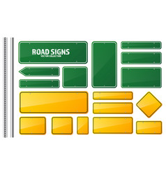 Road green and yellow traffic sign blank board vector