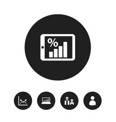Set of 5 editable statistic icons includes vector