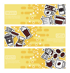 set of horizontal banners about coffee vector image