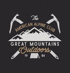 vintage alpine badge climbing logo vintage vector image vector image