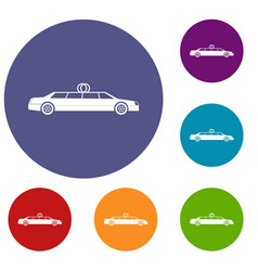 Wedding car decoration icons set vector