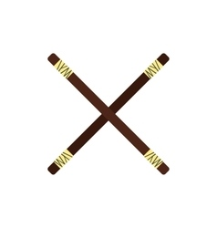 Wooden sword bokken flat icon vector