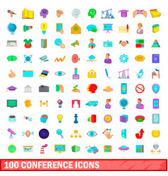 100 conference icons set cartoon style vector