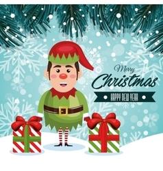 greeting christmas elf and gifts with snowfall vector image