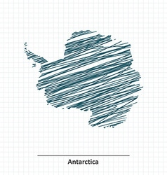 Doodle sketch of antarctica map vector