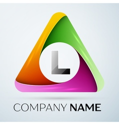 Letter l logo symbol in the colorful triangle vector