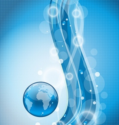 Wavy water background with earth plan vector
