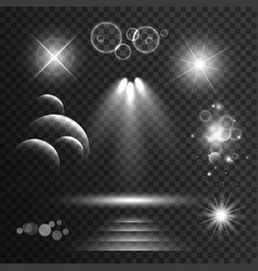 Set of transparent light effects and sparkles vector