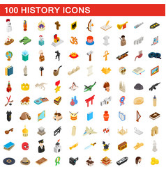 100 history icons set isometric 3d style vector image