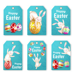 Set of easter rabbits and eggs vector