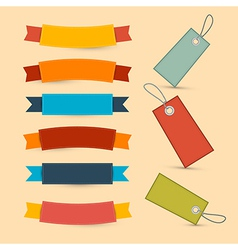 Colorful retro ribbons labels set vector