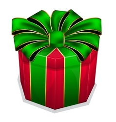 Red gift box with green bow vector