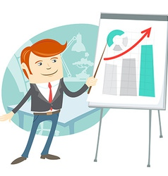 Office man presentating a graph on flipchart vector