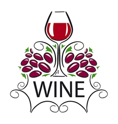 Logo glass of wine and grapes vector