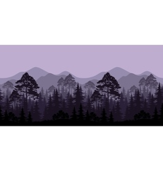 Seamless landscape trees and mountain silhouettes vector