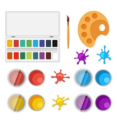 Set of objects for artists in flat style vector