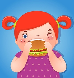 A fat girl eating a hamburger vector