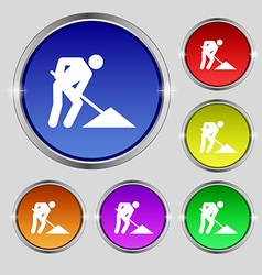 Repair of road construction work icon sign round vector