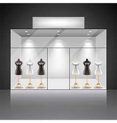 Illuminated shop showcase interior with mannequins vector