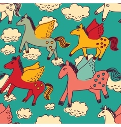 Horses and clouds color seamless pattern vector