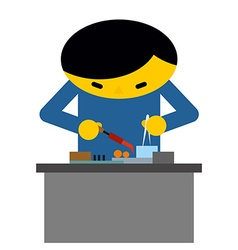Man behind desk repairs electronic equipment vector image