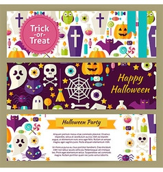 Trick or treat halloween template banners set in vector