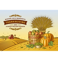 Vintage thanksgiving landscape vector
