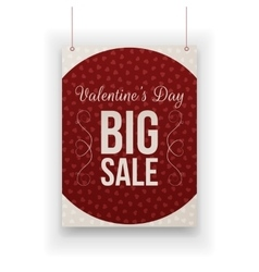 Valentines day big sale hanging paper sheet vector