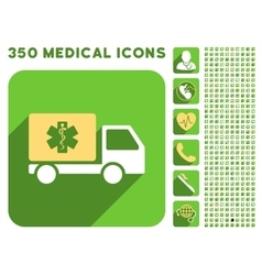 Medical shipment icon and medical longshadow icon vector