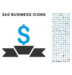 Premium business ribbon icon with flat set vector
