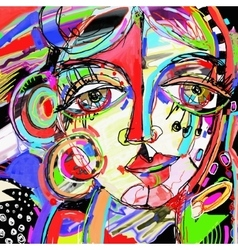 Original abstract digital painting of human face vector