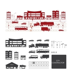 Big set with city elements to make your own city vector