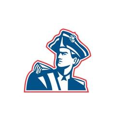 American Patriot Soldier Bust Retro vector image vector image