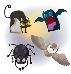 Animal Halloween Cartoon Collection Set vector image vector image