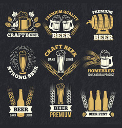 brewery labels isolate on dark background badges vector image