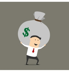 Businessman with money bag cartoon character vector