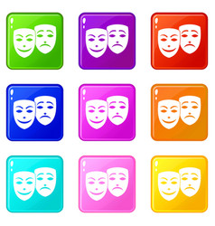 Carnival mask icons 9 set vector