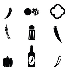 chilli icon set vector image