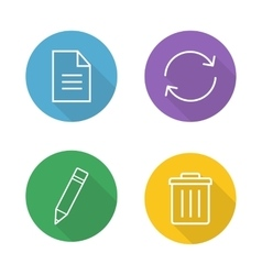 File editor flat linear icons set vector image vector image