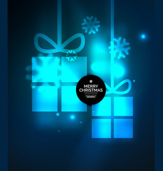 glowing gift boxes with snowflakes christmas and vector image